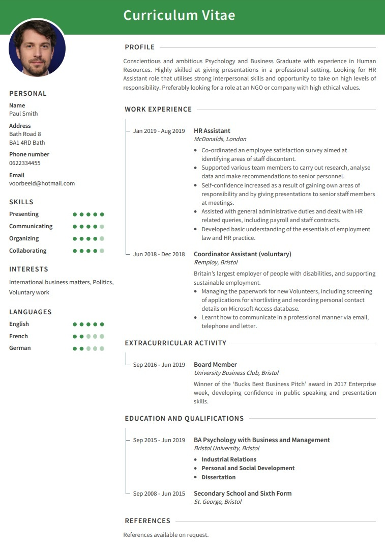 CV example university graduate looking for HR role