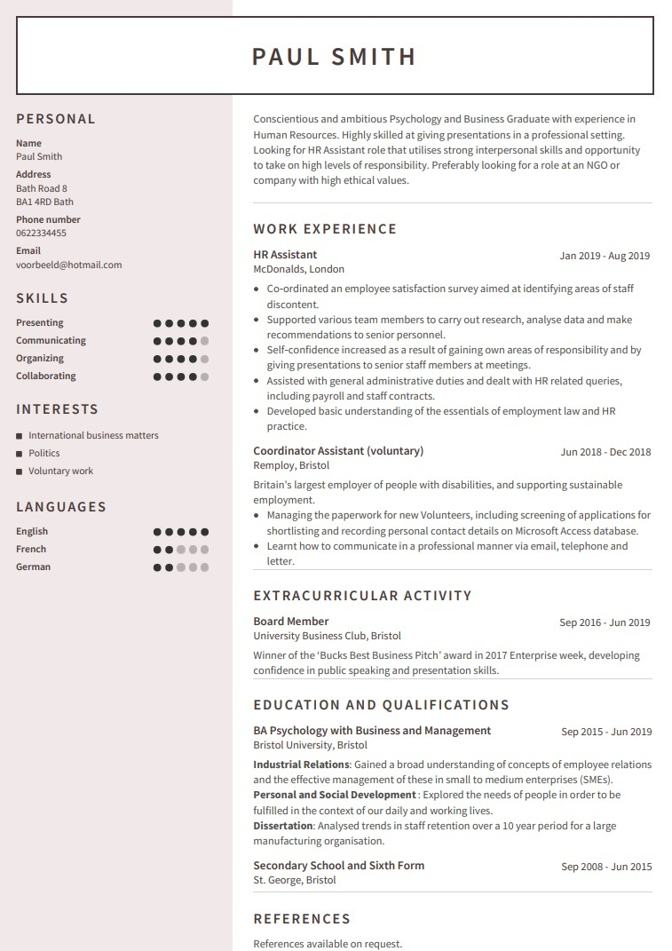 Cv Examples Use Our Templates To Professionally Format Your Cv
